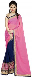 Vedant Vastram Pink Colour Georgette Embroidered Saree (code - Vvask_1078)