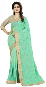 Vedant Vastram Turquoise Colour Chiffon Embroidered Saree (code - Vvask_1100)
