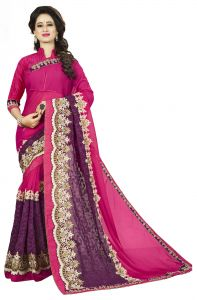 Vedant Vastram Pink Colour Georgette Embroidered Saree (code - Vvask_1101)