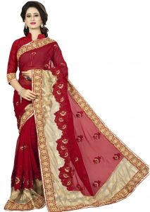 Vedant Vastram Red Colour Georgette Embroidered Saree (code - Vvask_1104)