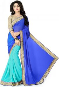 Vedant Vastram Blue Colour Chiffon Embroidered Saree (code - Vvask_2093)