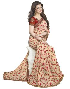 Vedant Vastram Red Colour Georgette Printed Saree (code - Vvm_29)