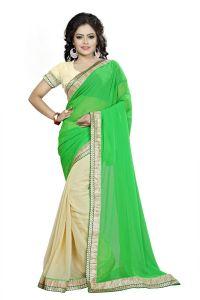 Georgette Sarees - Vedant Vastram Green Colour Georgette Embroidered Saree (Code - vvask_3081)