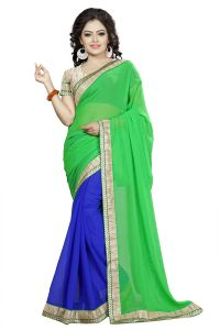 Vedant Vastram Green Colour Georgette Embroidered Saree (code - Vvask_3084)