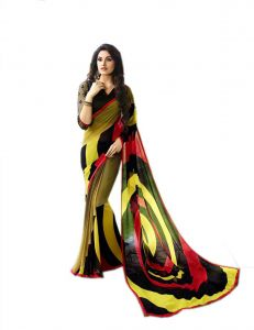 Vedant Vastram Yellow Colour Georgette Printed Saree (code - Vvm_6101)