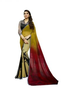 Vedant Vastram Yellow Colour Georgette Printed Saree (code - Vvm_6105)