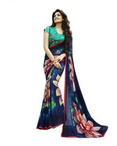 Vedant Vastram Blue Colour Georgette Printed Saree (code - Vvm_6106)