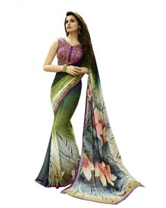 Vedant Vastram Green Colour Georgette Printed Saree (code - Vvm_6109)