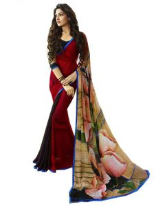Vedant Vastram Red Colour Georgette Printed Saree (code - Vvm_6110)