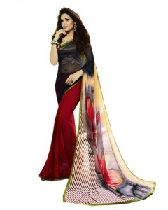 Vedant Vastram Black Colour Georgette Printed Saree (code - Vvm_6113)