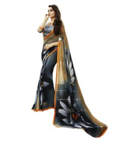 Vedant Vastram Black Colour Georgette Printed Saree (code - Vvm_6114)