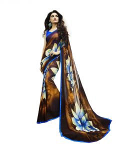 Vedant Vastram Blue Colour Georgette Printed Saree (code - Vvm_6117)