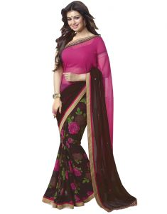 Vedant Vastram Pink Colour Georgette Printed Saree (code - Vvm_a1_coffee)