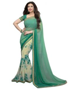Vedant Vastram Green Colour Georgette Printed Saree (code - Vvm_a3_green)