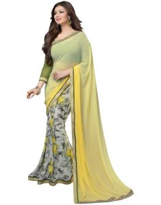 Vedant Vastram Yellow Colour Georgette Printed Saree (code - Vvm_a3_yellowprint)