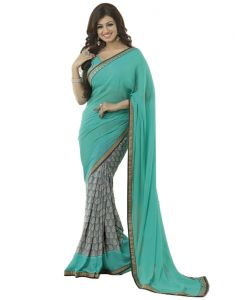Vedant Vastram Turquoise Colour Georgette Printed Saree (code - Vvm_a4_blue)