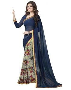 Vedant Vastram Blue Colour Georgette Printed Saree (code - Vvm_a4_blueprint)