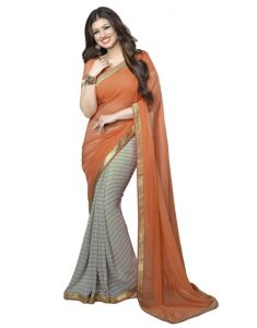 Georgette Sarees - Vedant Vastram Orange Colour Georgette Printed Saree (Code - vvm_a4_orangeline)