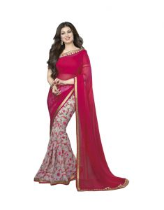 Vedant Vastram Pink Colour Georgette Printed Saree (code - Vvm_a4_pinkflower)