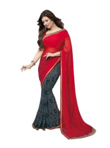 Vedant Vastram Red Colour Georgette Printed Saree (code - Vvm_a_red_black)