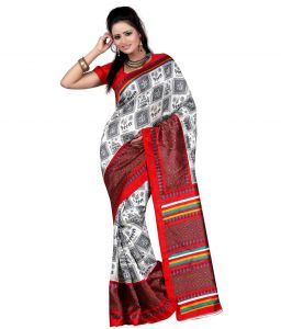 Vedant Vastram White & Red Color Art Silk Printed Saree (code - Vvas_elizabeth)