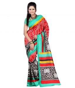Vedant Vastram Red & Turquoise Color Art Silk Printed Saree (code - Vvas_jessica)