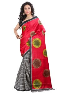 Vedant Vastram Red Colour Bhagalpuri Silk Printed Saree (code - Vvbs_jija)