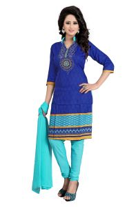 Vedant Vastram Blue Colour Crepe Unstitched Printed Dress Matrial (code - Vvdm_khushirama)