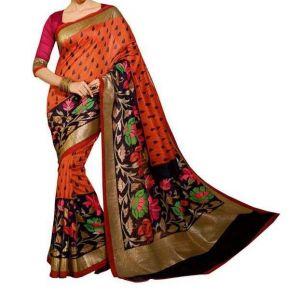 1e2d4ea12acc6d Vedant Vastram Red Colour Bhagalpuri Silk Printed Saree (Code -  vvbs_maroonchappa)