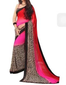 Vedant Vastram Black Colour Premium Georgette Saree (code - Vv_multigoli)