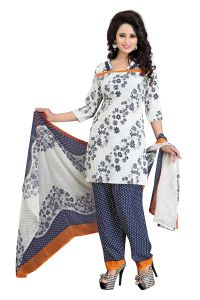 Vedant Vastram Blue Colour Poly Cotton Unstitched Printed Dress Matrial (code - Vvdm_nickyblue)