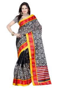 Vedant Vastram Black Colour Bhagalpuri Silk Printed Saree (code - Vvbs_kanishka)