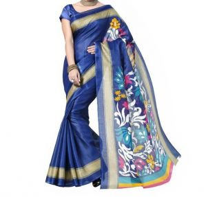 Vedant Vastram Blue Colour Bhagalpuri Silk Printed Saree (code - Vvbs_simranblue)