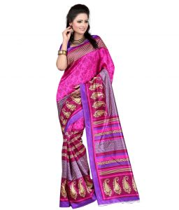 Vedant Vastram Pink & Blue Color Art Silk Printed Saree (code - Vvas_sophie)