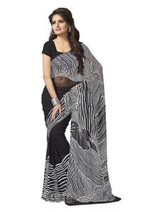 Vedant Vastram Black Colour Premium Georgette Saree (code - Vv_whiteblack)