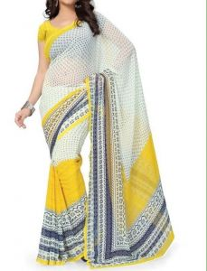 Vedant Vastram Yellow Colour Premium Georgette Saree (code - Vv_yellowcream)