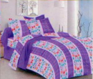 Shree Double Bed Sheets - Shree Creations Cotton Double Purple Bedsheet with Pillow Covers