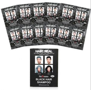 Shampoos - Hair4Real Hair Coloring Shampoo Black Set of 12 12 (Total 24Sets-600ml) with 24 Sets of Gloves & 2 Apron's Free