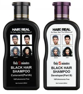 Shampoos - Hair4Real Hair Dye Shampoo Black 400ml with 12 Sets of Gloves & 1 Apron Free