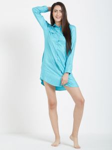 Star Print Blue Shirt Dress (code - C123c)