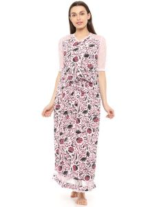 Mystere Paris Lace Sleeved Floral Long Dress (code - C240b )