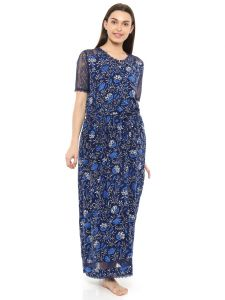 Mystere Paris Lace Sleeved Floral Long Dress (code - C240c )