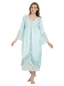 Lacy Satin Green Robe And Dress Set (code - E248a)
