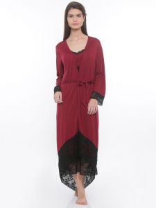 Lace Trimmed Maroon Robe Dress Set (code - E249a)