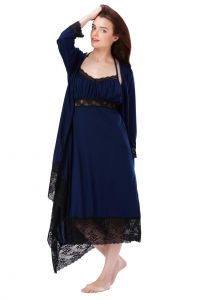 Lace Trimmed Navy Blue Robe Dress Set (code - E249b)
