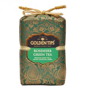 Golden Tips Rose Herb Green Tea - Brocade Bag, 100g