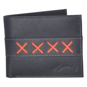 Tamanna Men Grey, Orange Genuine Leather Wallet (4 Card Slots)