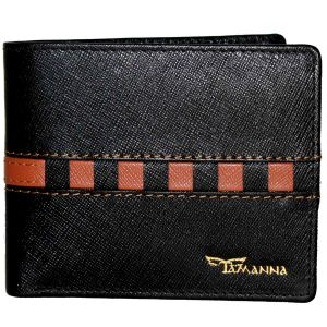 Tamanna Men Black, Tan Genuine Leather Wallet (6 Card Slots)