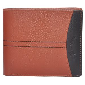 Tamanna Men Tan, Black Genuine Leather Wallet (8 Card Slots)