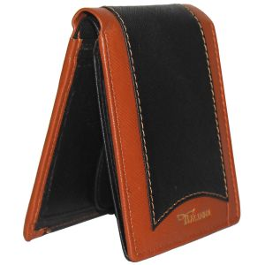 Tamanna Men Black, Tan Genuine Leather Wallet (7 Card Slots)